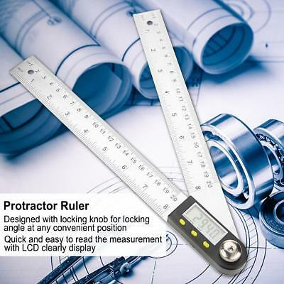 0-200mm Stainless steel Digital Protractor Ruler Goniometer Angle Finder Meter M