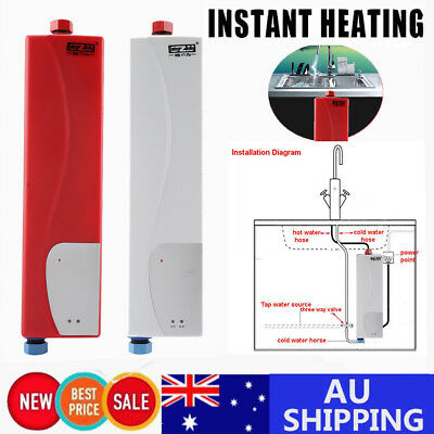 220V 3000W Mini Electric Tankless Instant Hot Water Heater Bathroom Kitchen Use