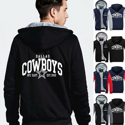NFL Dallas Cowboys Fans Men's Thicken Hoodie Winter Warm Coat Jacket Sweater