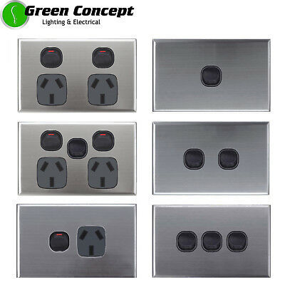SLIM 5mm BLACK Light Switch Double Power Point GPO Stainless Steel Silver Cover