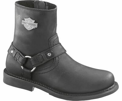 Harley Davidson Scout Zip Sided Full Grain Leather Boots in Black