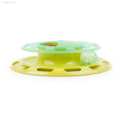 F74F Cat Kitten Food Treat Dispenser Feeder Turntable Teaser Activity Play Toy