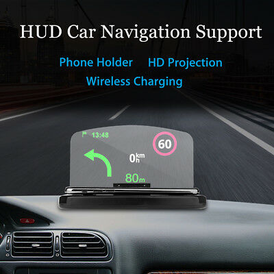 Qi Wireless Charger Dock Car HUD Head Up Navigation Display Holder For iPhone XS