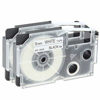 2PK lable tape compatible for Casio XR-9WE Black on White 9mm x 8m KL-120 KL-75