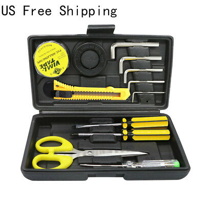 12pcs Hand Tool Kit Set Box Household Repair Scissor Knife Screwdriver Tape