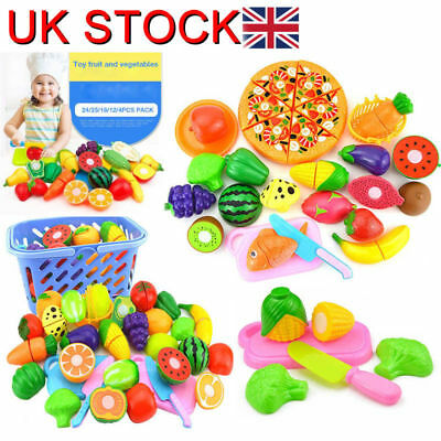 37pcs Kids Toy Pretend Role Play Kitchen Fruit Vegetable Cake Food Cutting Sets