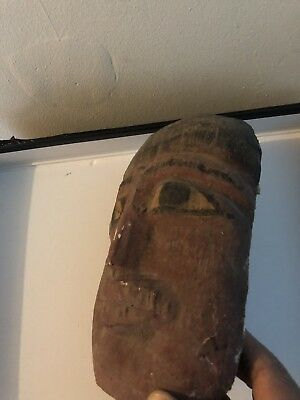 rare ancient egyptian akhenaten Wooden Mask (1336 -1326 BC)