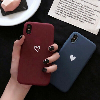 72fd1b18bce For iPhone X XS Max XR Cute Girl Love Heart Matte Rubber TPU Soft Case Cover