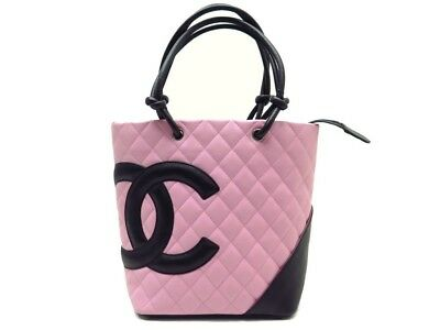 Neuf Sac A Main Chanel Shopping Cambon Cuir Matelasse Rose   Noir Hand Bag  1500€ 6b1c18d0a7a