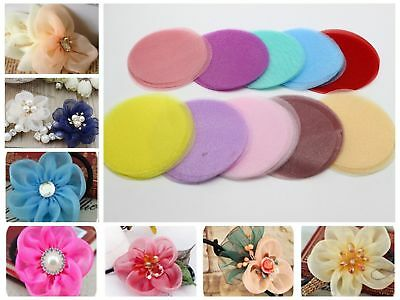50pcs Organza Fabric Circle Shapes Sheets 70mm Die Cuts Applique For Flower Make