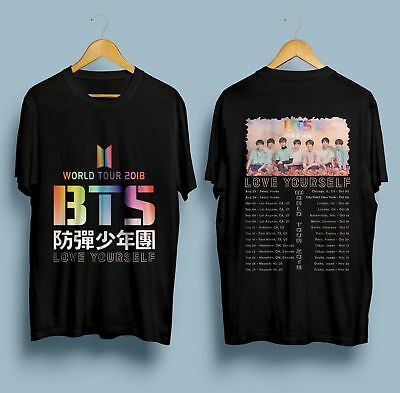 New BTS-World-Tour-2018-T-shirt-KPOP-Bangtan black T-shirt S- 5 XL Mann - Frauen