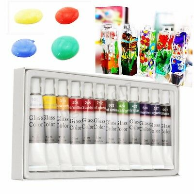 Glass Paint 12 Color Set Tubes 12ml Non Toxic Painting Kit Draw Pigment Art Tube