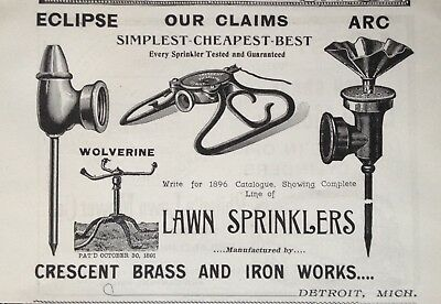 1895 Ad(30)~Crescent Brass & Iron Works, Eclipse, Arc Lawn Sprinklers