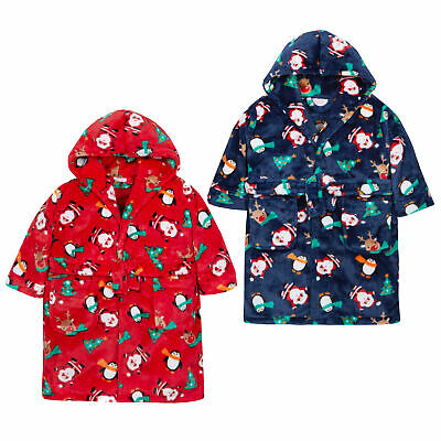Kids Childrens Girls Boys Novelty Christmas Dressing Gown Hooded Plush Robe Sale