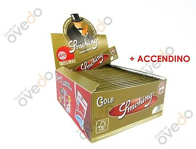 SMOKING ORO GOLD Cartine Lunghe King Size 1 Box 50 Libretti + Clipper