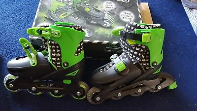 Kids Black/green in-line Roller Skates Adjustable Size 13-2