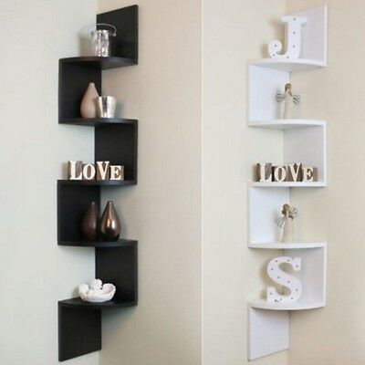 5 Tiers Wood Wall Mount Corner Shelf Floating Home Storage Rack Display Unit NEW