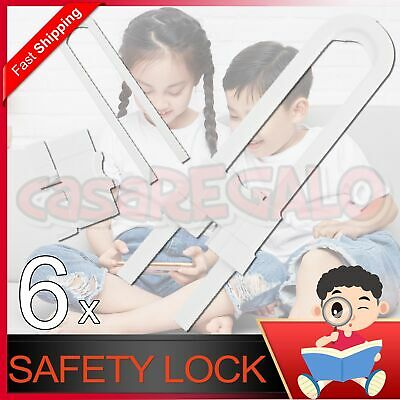 6X Baby Safety Lock Child Kids U-shaped Drawer Door Cabinet Cupboard Lock