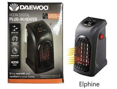 400W Mini Furnace Portable Plug-in Electric Wall-outlet Space Heater 220-240V UK