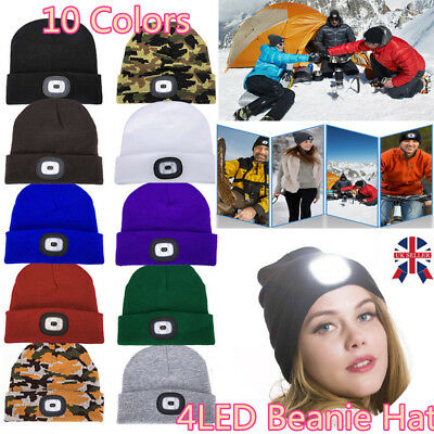 Unisex 4 LED Beanie Hat + USB Rechargeable Battery 5 Hours High Powered Light DD