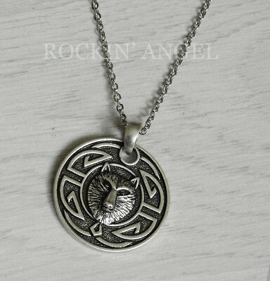 Antique Silver Plt Celtic Knotwork Wolf Face Pendant Necklace Viking Gift Chain