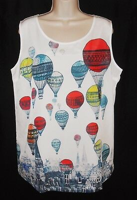 Sleeveless Top L 14 NEW Hot Air Balloon White Red Blue Tank Blouse Novelty Print