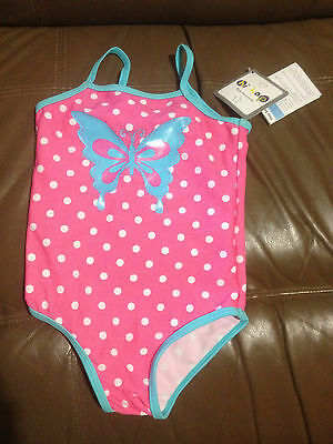 Hip-Hop Pink Butterly Polka Dot Swim Suit Bnwt Sz 2  Free Postage (F95