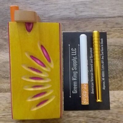 Yellow Wood Dugout Set w/ (3) One Hitter Aluminum Pipes (2x Cigarette, 1x Bat)