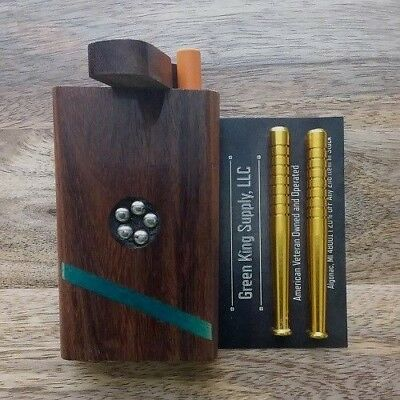 Jeweled Wooden Dugout Set with 3x Aluminum Metal Pipes (2x Bat, 1x Cigarette)