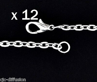 LOT de 12 CHAINES maillon 3x4 mm fermoir mousqueton collier couleur  Argent 45cm