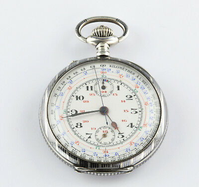 Swiss Chronograph Tachymeter Chronograph pocket watch Switzerland 1880 silver