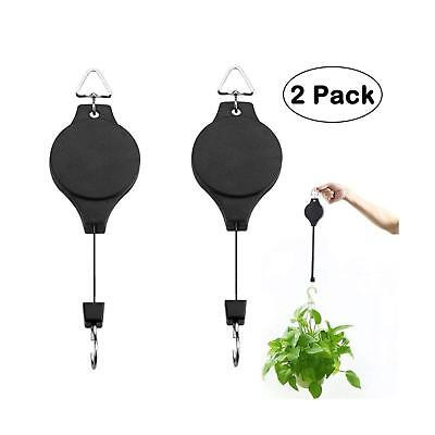 Plant Pulley Retractable Hanging Flower Basket Hook Pull Down Holder Hooks 2pcs