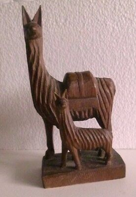 "Hand Carved Wooden Mother And Baby Llama Statue, Vintage 1980's, 6"" By 3"", Peru"