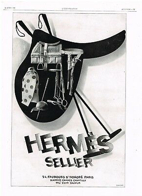 HERMES AD SPORT POLO TRAVEL LUXURY Original 1920s Vintage Print Ad*Retro