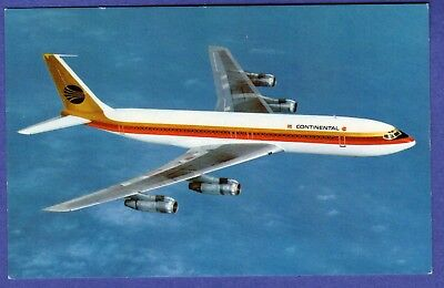 CONTINENTAL AIRLINES BOEING 707-320C Aircraft Fan Jets Litho Chrome Postcard