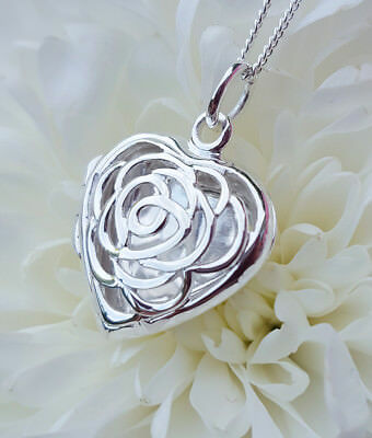 """Personalised Solid Sterling Silver Open Heart Locket Necklace 18"""" 20"""" ENGRAVE"""