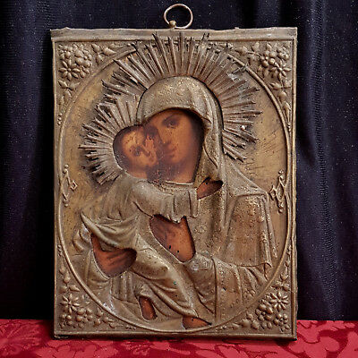 Antique 19th Century Russian Icon of Madonna and Child