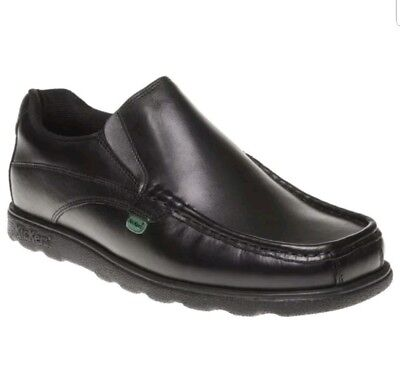 Mens Kickers Black Fragma Slip On Leather Shoes Loafers Size UK 9