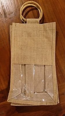 Brown Hessian 2 bottle wine takeout bag cane handles BNWOT free post D97