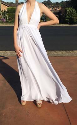 Fame & Partners White Halter Gown Wedding Formal Bnwt  Sz 12 Free Post (F75)