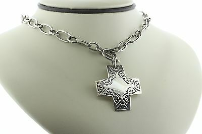 """Silpada Sterling Silver """"Virtuosity"""" Cross Link Necklace with Toggle Clasp N0557"""