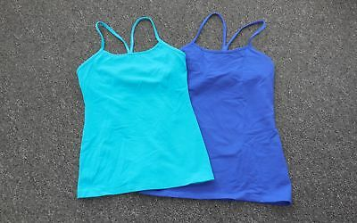 LULULEMON Blue Teal Spaghetti Straps Solid Lined Lot Of 2 Tank Tops Sz 6 FF6069