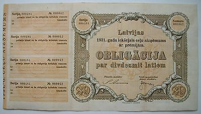 LATVIA 20 LATU road Loan Bond 1931 J.Anmanis J.Miezis