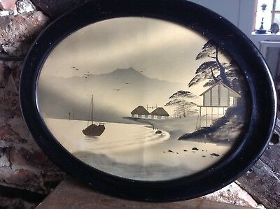 Framed Oriental Picture Vintage Old Great Wow Wow No Reserve Auction