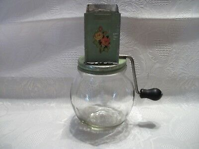 Vintage Green Metal Nut Spice Grinder with Glass Jar / Wood Handle