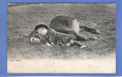 Old Vintage Postcard Young Boy Asleep Lying On A Donkey Children Forty Winks