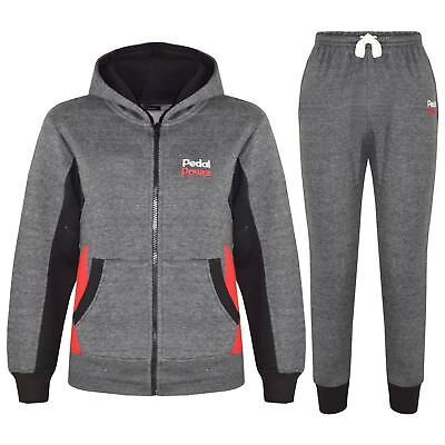 Kids Boys Girls Pedal Power Tracksuits Charcoal Zipped Top Bottom Jogging Suits