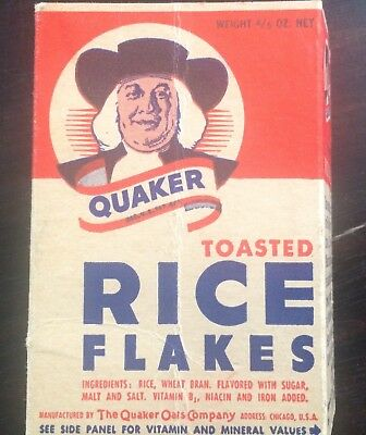 Quaker Toasted Rice Flakes old cereal box with Honey Bun comic
