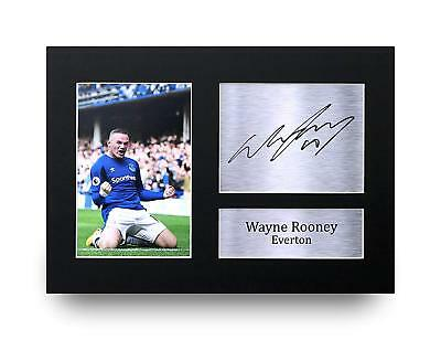 Wayne Rooney Gift Signed A4 Printed Autograph Everton Gifts Print Pictures Photo