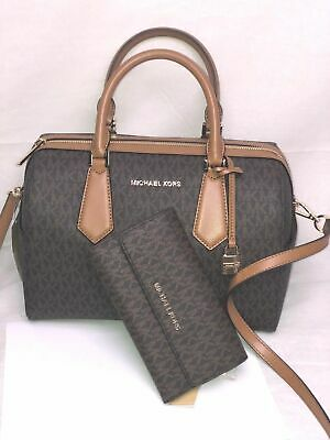 032a0efb4177 Michael Kors Hayes Large Brown Duffle Crossbody Satchel Bag Or Trifold  Wallet